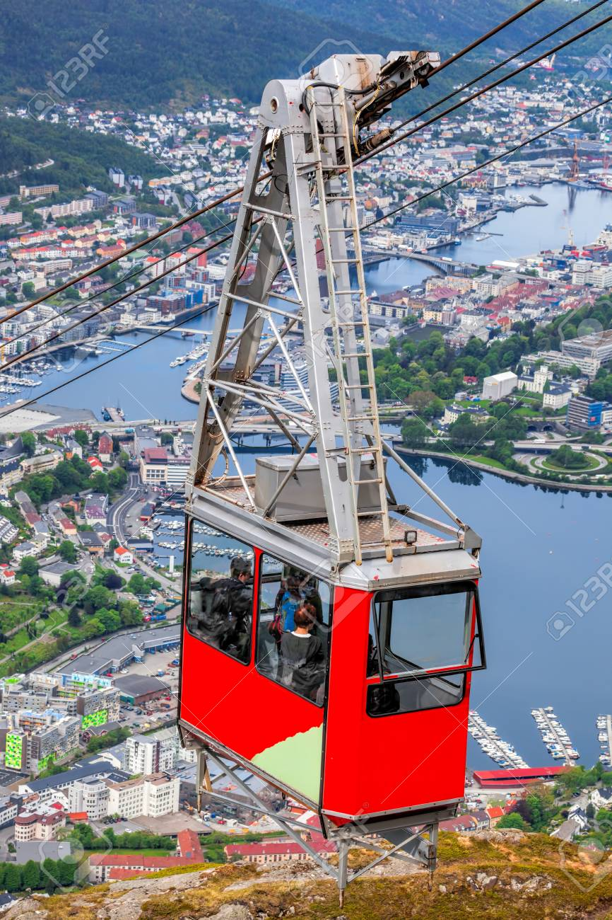 ulriken cable railway in bergen norway gorgeous views from stock