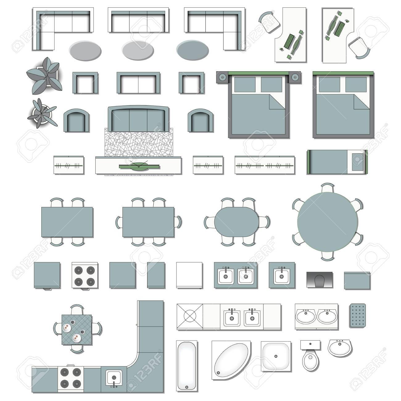 Set top view for interior icon design. Elements for living room, bedroom, kitchen, bathroom. Floor plan. Furniture store. Vector Illustration. - 105140664