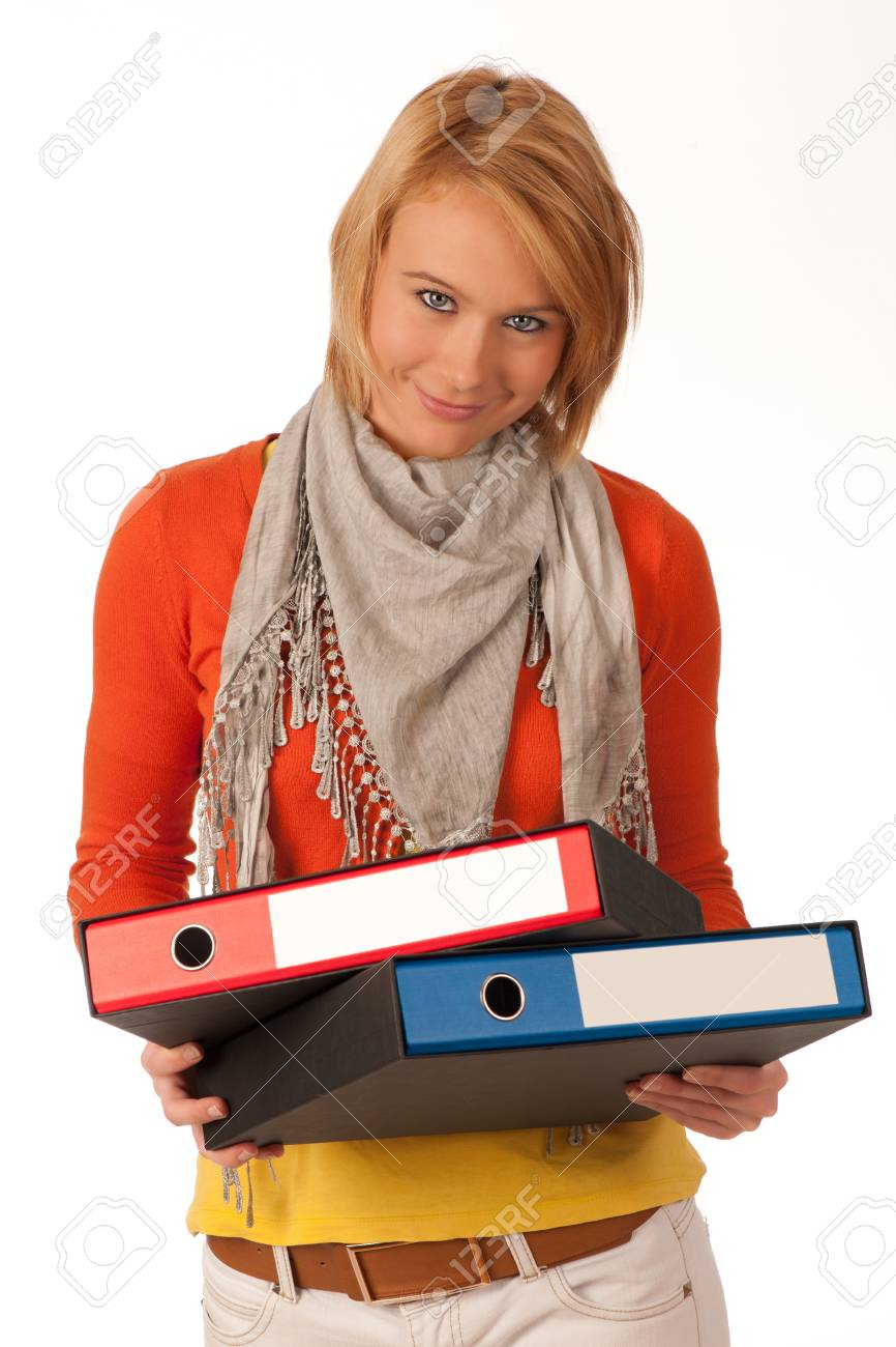 attractive young girl carries file folders Stock Photo - 11811269