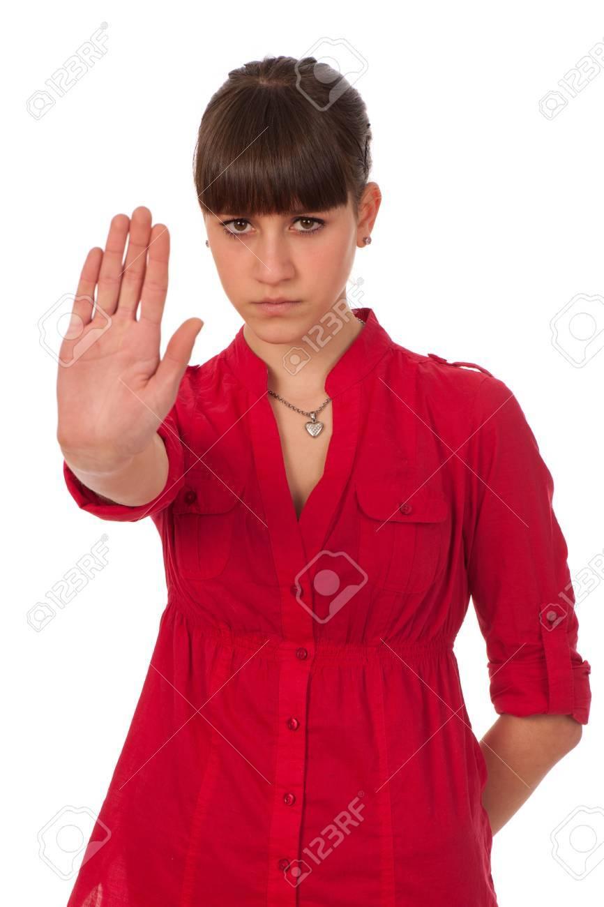 Attractive teenage girl gesturing stop sign Stock Photo - 13077964