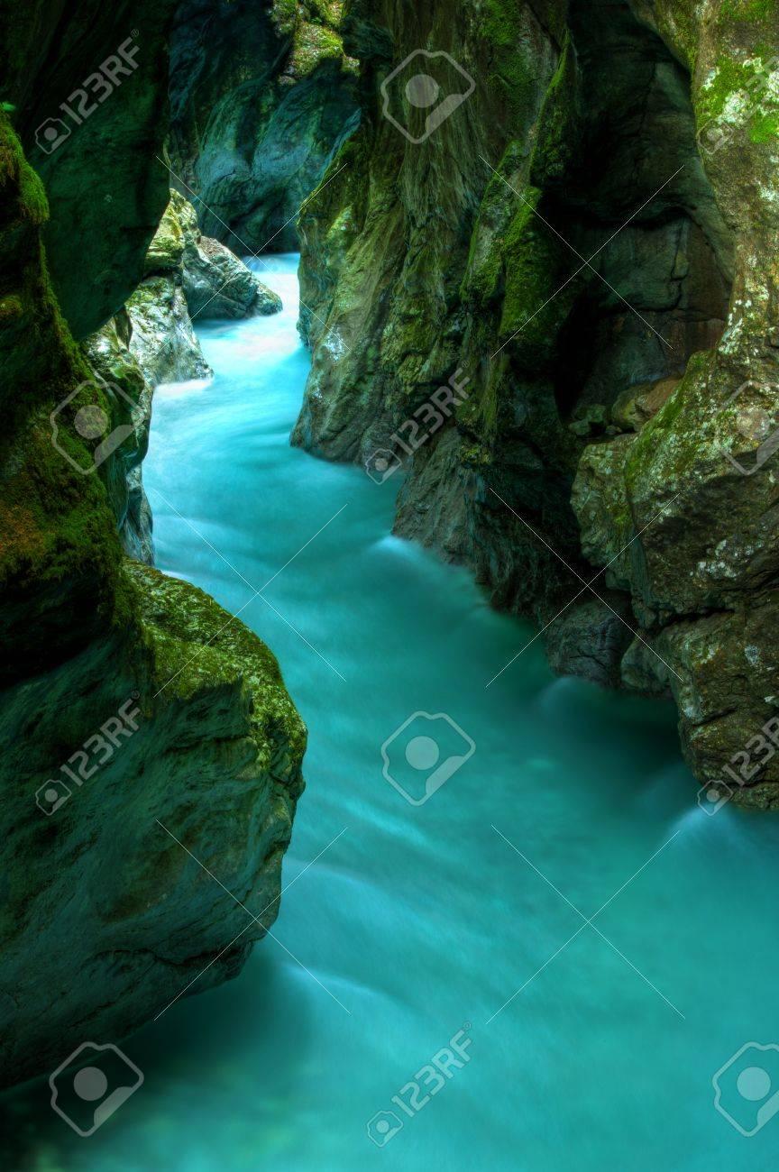 Tolminka alpine river in Slovenia, central europe Stock Photo - 13925132