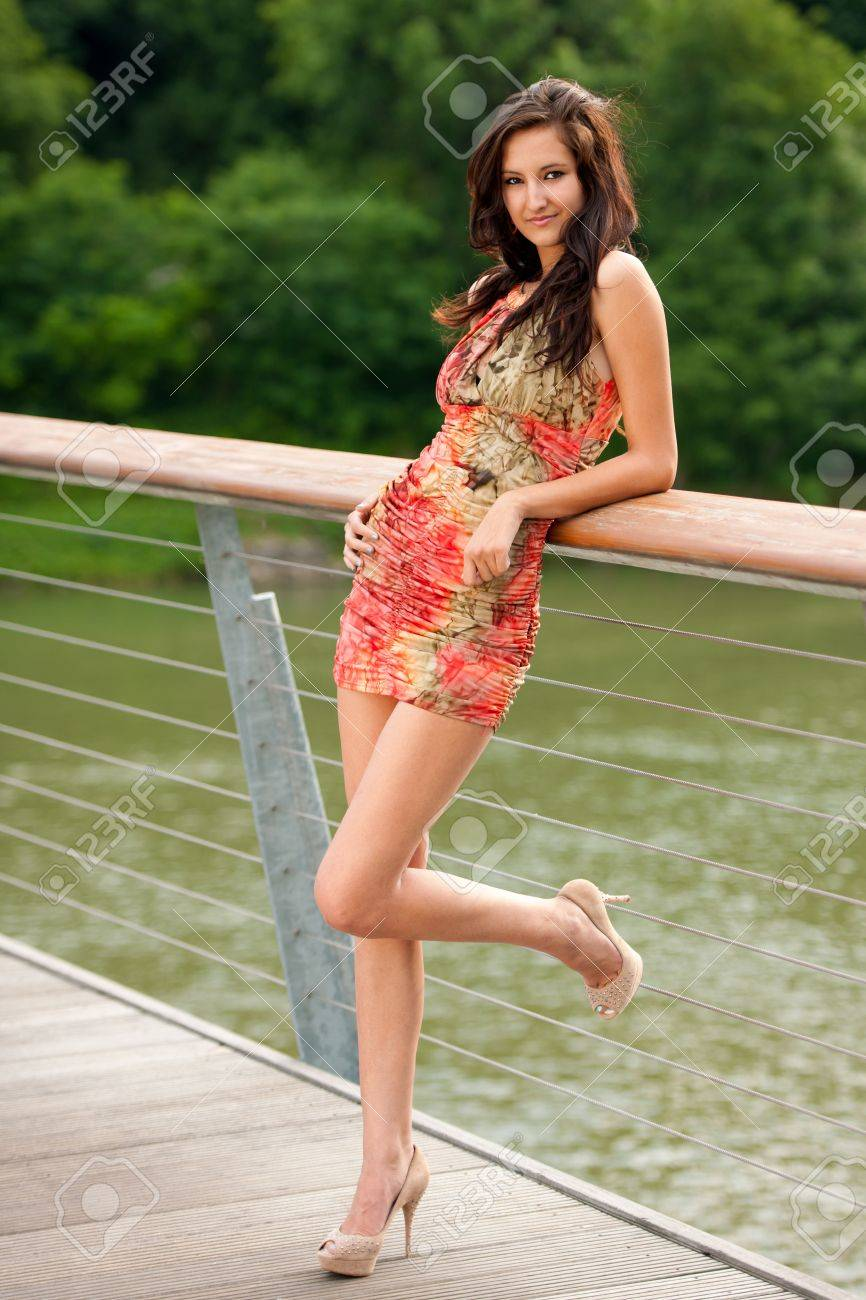 young woman on a bridge Stock Photo - 14655747