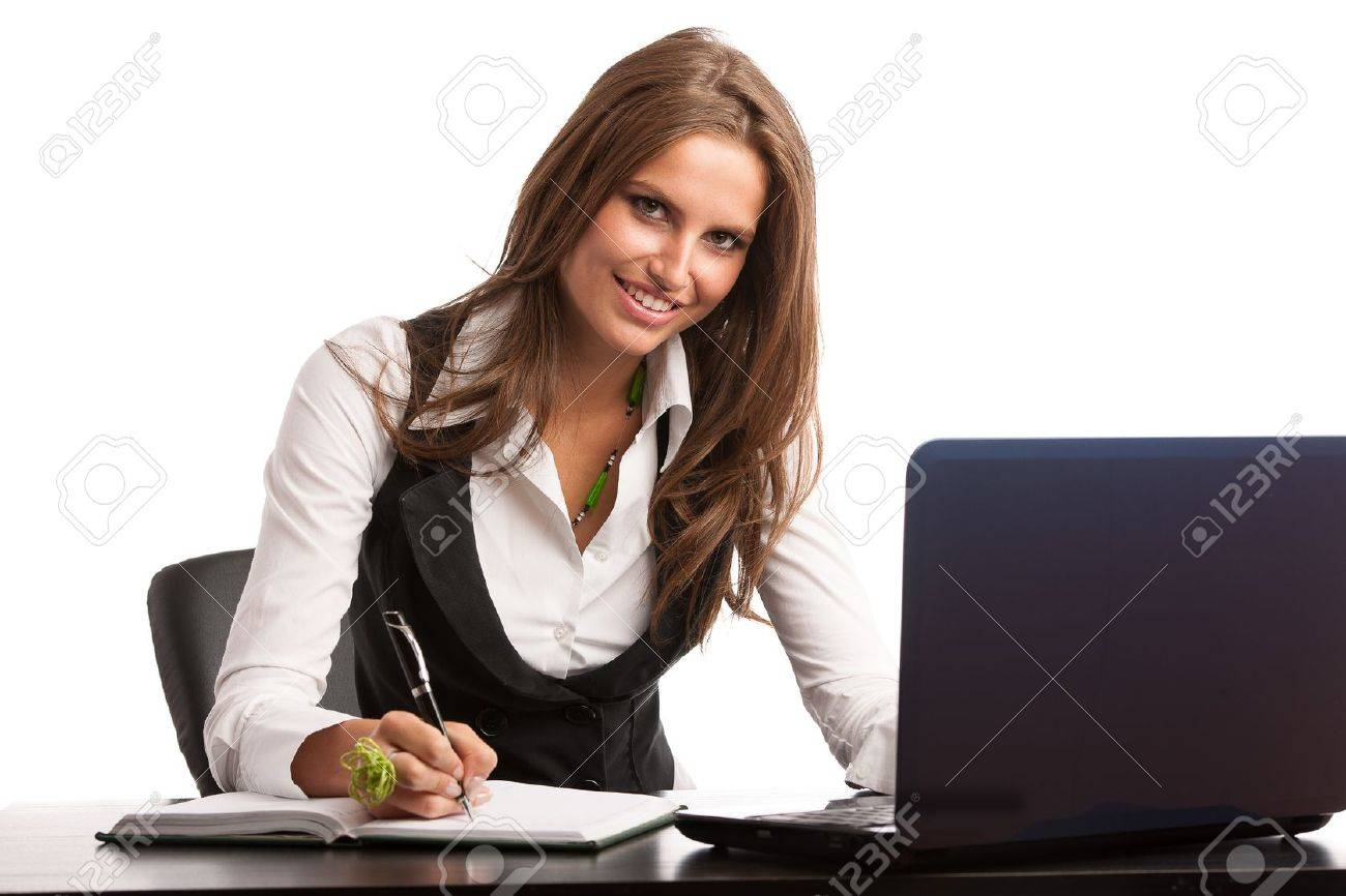 Preety business secretarry woman working in office isolated over white background Stock Photo - 21853779