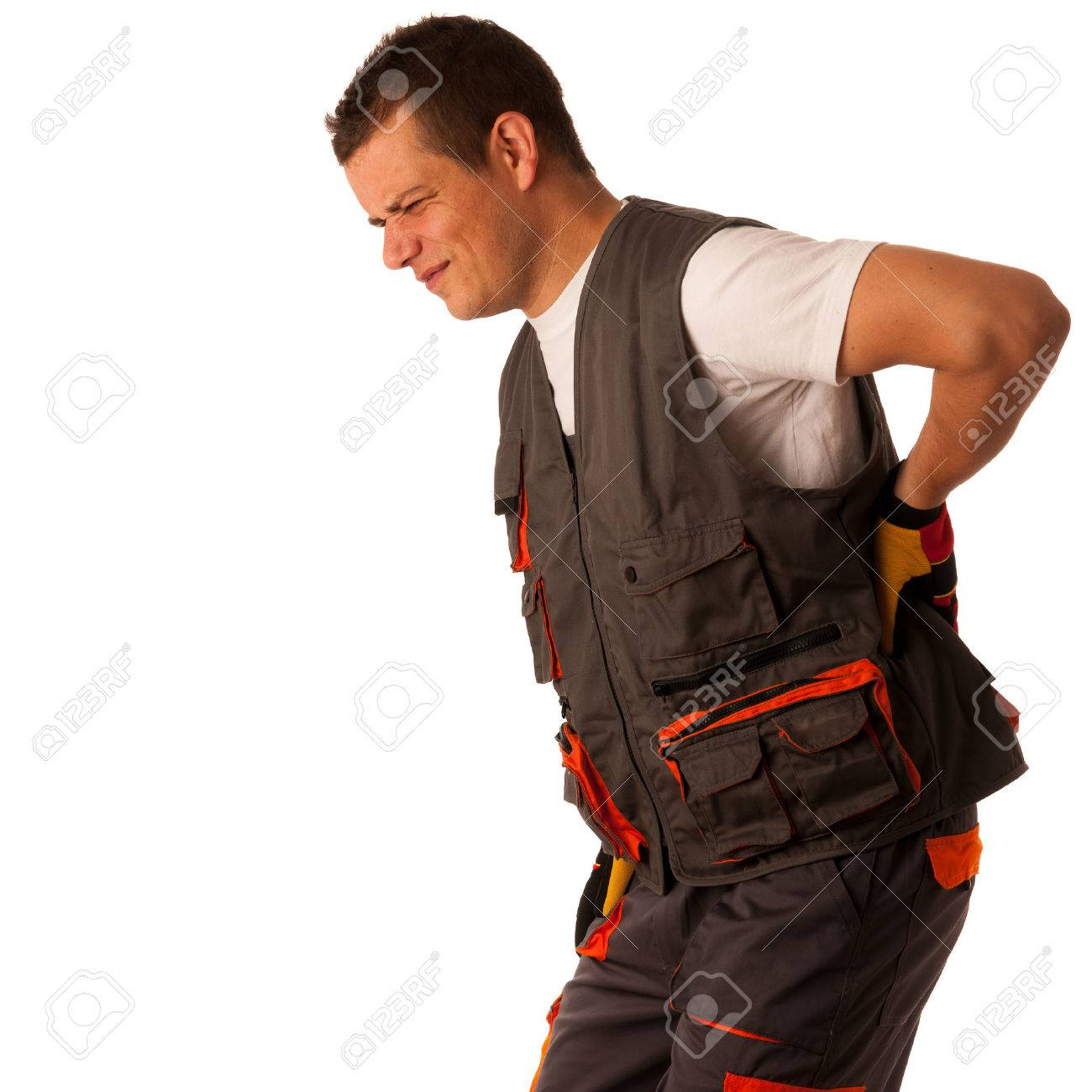 Injury on work - construction worker suffering hard pain in his back Stock Photo - 23161051