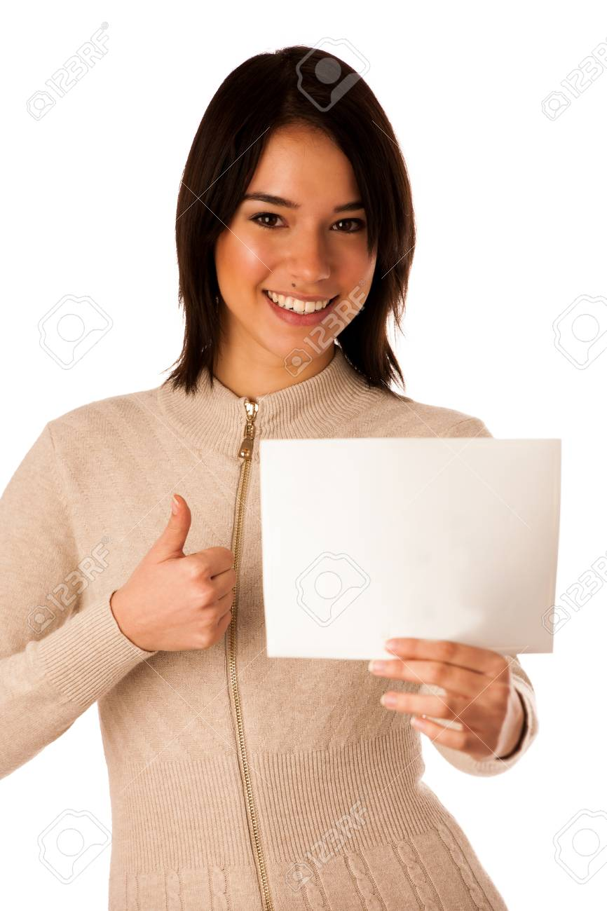 Beautiful young asian caucasian woman holding a blank card in her hands isolated over white Stock Photo - 26179474