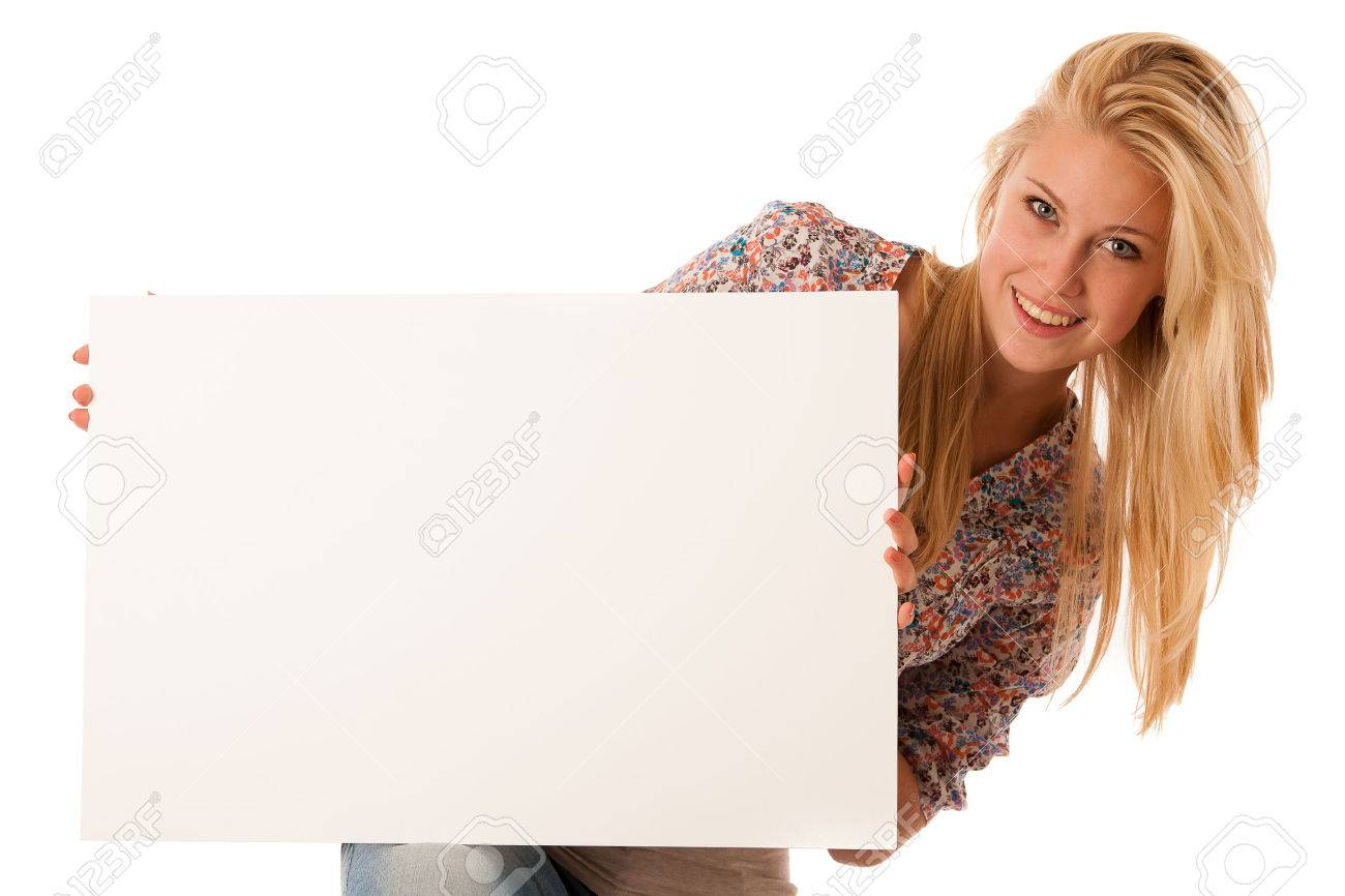 nde woman holding a blank white board in her hands for promotional text or banner isolated over white background Stock Photo - 31203793