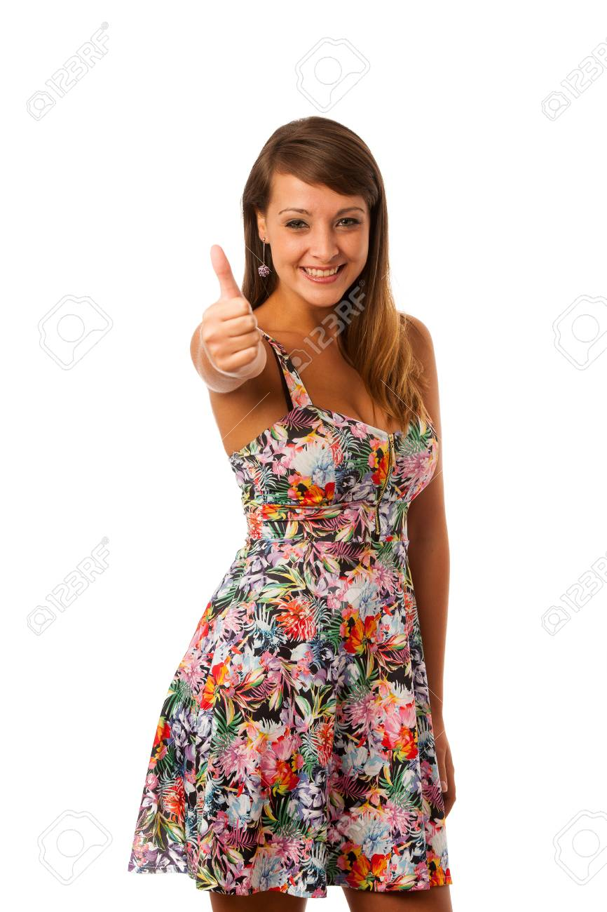 b0672d79a48f3 Cute young woman posing in flower pattern short summer dress isolated over white  Stock Photo -