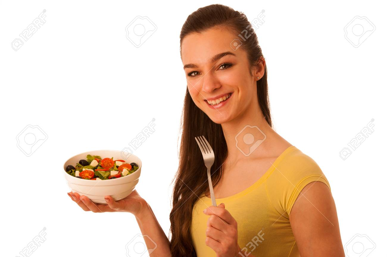 Beautiful Asian Caucasian Woman With A White Bowl Of Mixed Salad