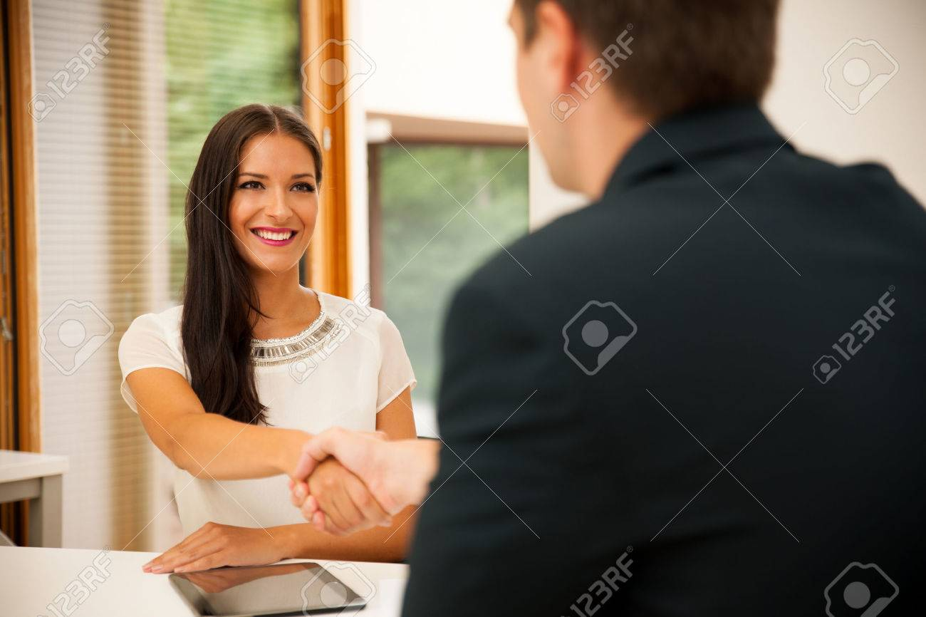 Man and woman on business meeting, sitting in the office, discussing the solutions Stock Photo - 46934839