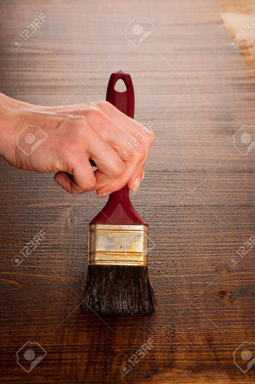 Painting Wooden Table For Protection And Wood Maintenance Oil Wax Stock  Photo   52988829