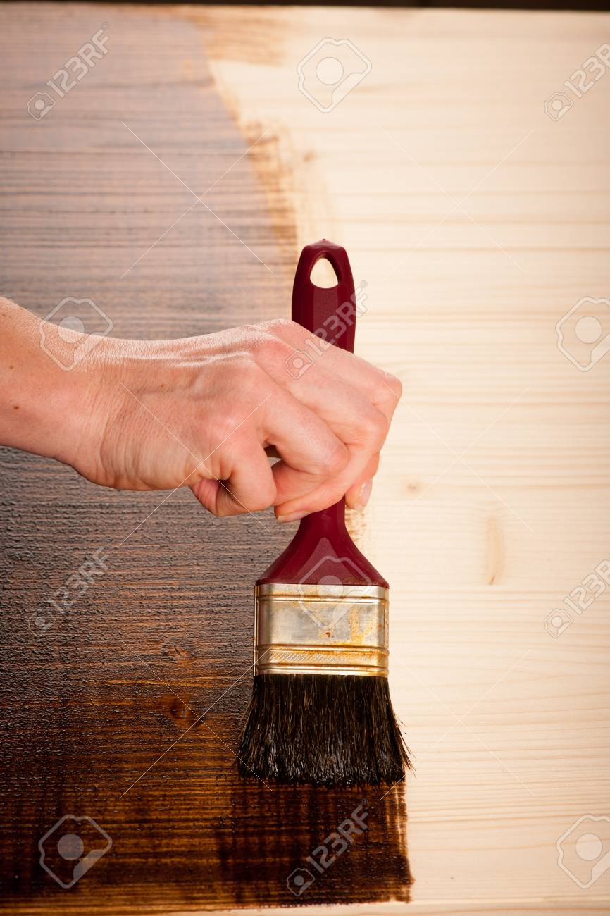 Painting Wooden Table For Protection And Wood Maintenance Oil Wax Stock  Photo   53069805