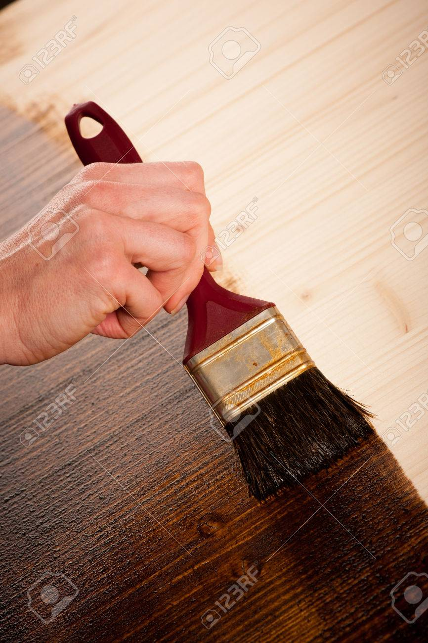 Painting Wooden Table For Protection And Wood Maintenance Oil Wax Stock  Photo   53689367