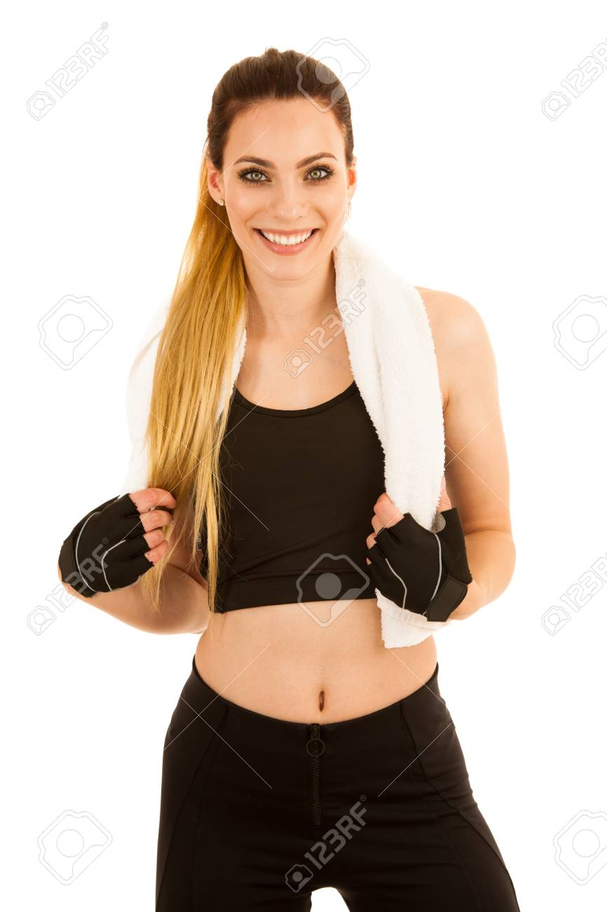 Beautiful Sporty Woman Standing With Crossed Arms Isolated Over