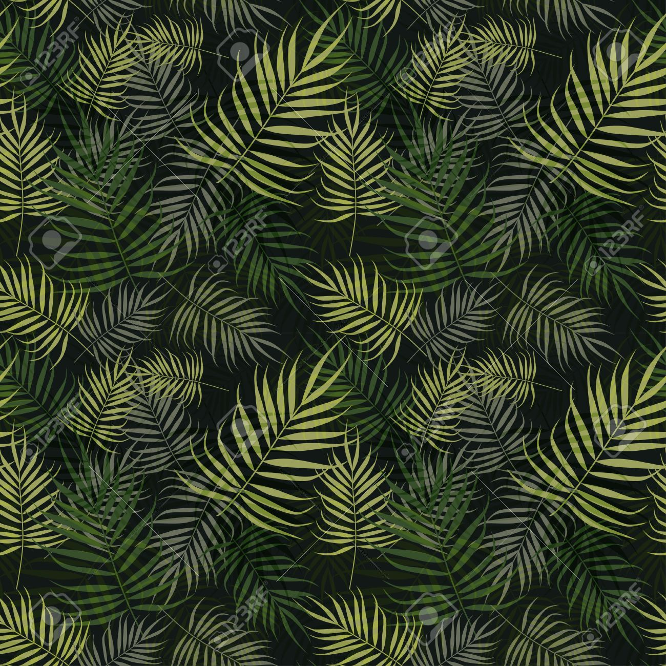 Green Palm Leaves Pattern On Black Background Stock Vector