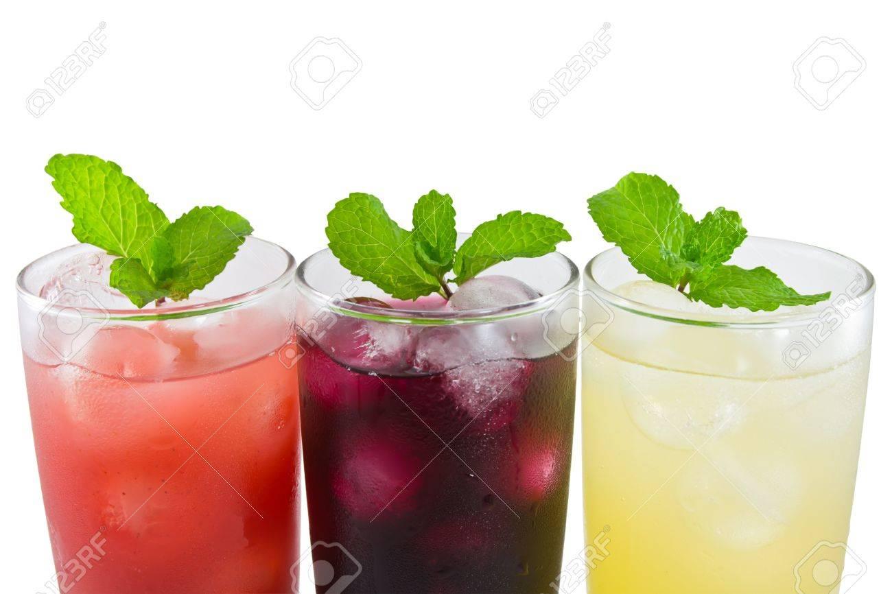 Three glass of apple,grape and strawberry juice Stock Photo - 12821438