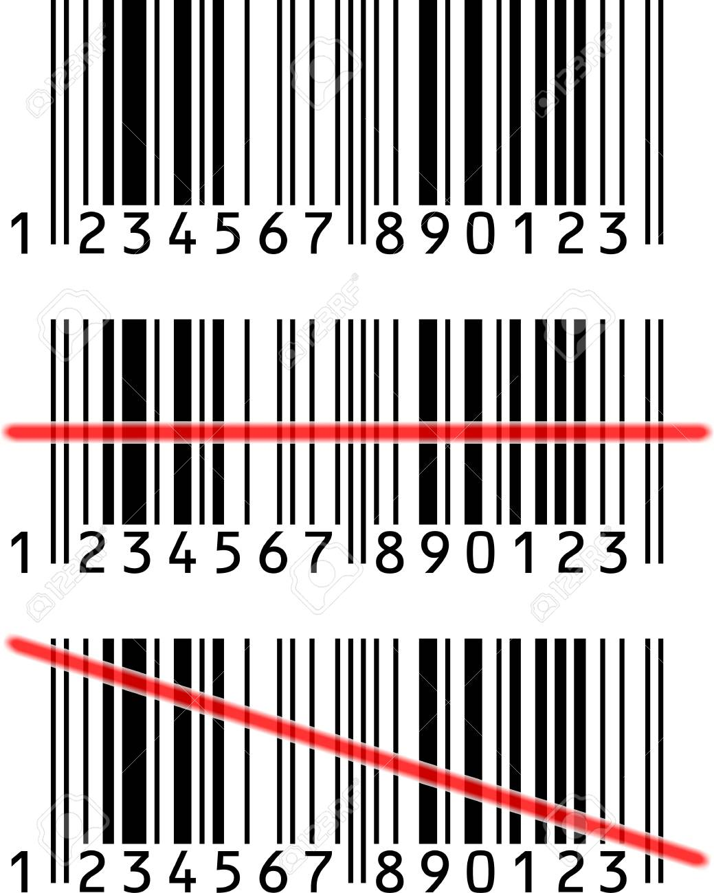 3 Barcode with or without red light-line Stock Photo - 11737421