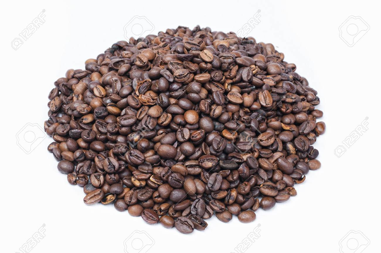 Roasted Coffee beans heap isolated on white background Stock Photo - 11924128