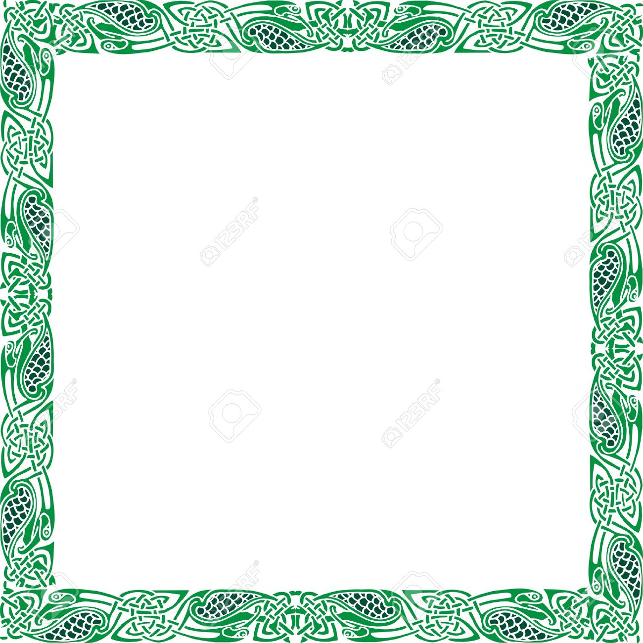 Abstract Celtic patterns with flower designs on the border Stock Photo - 11941628