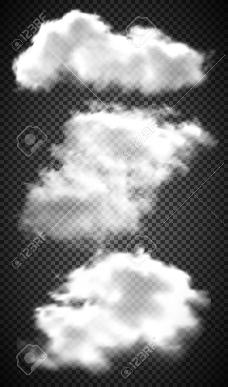 Set realistic transparent clouds  Vector illustration