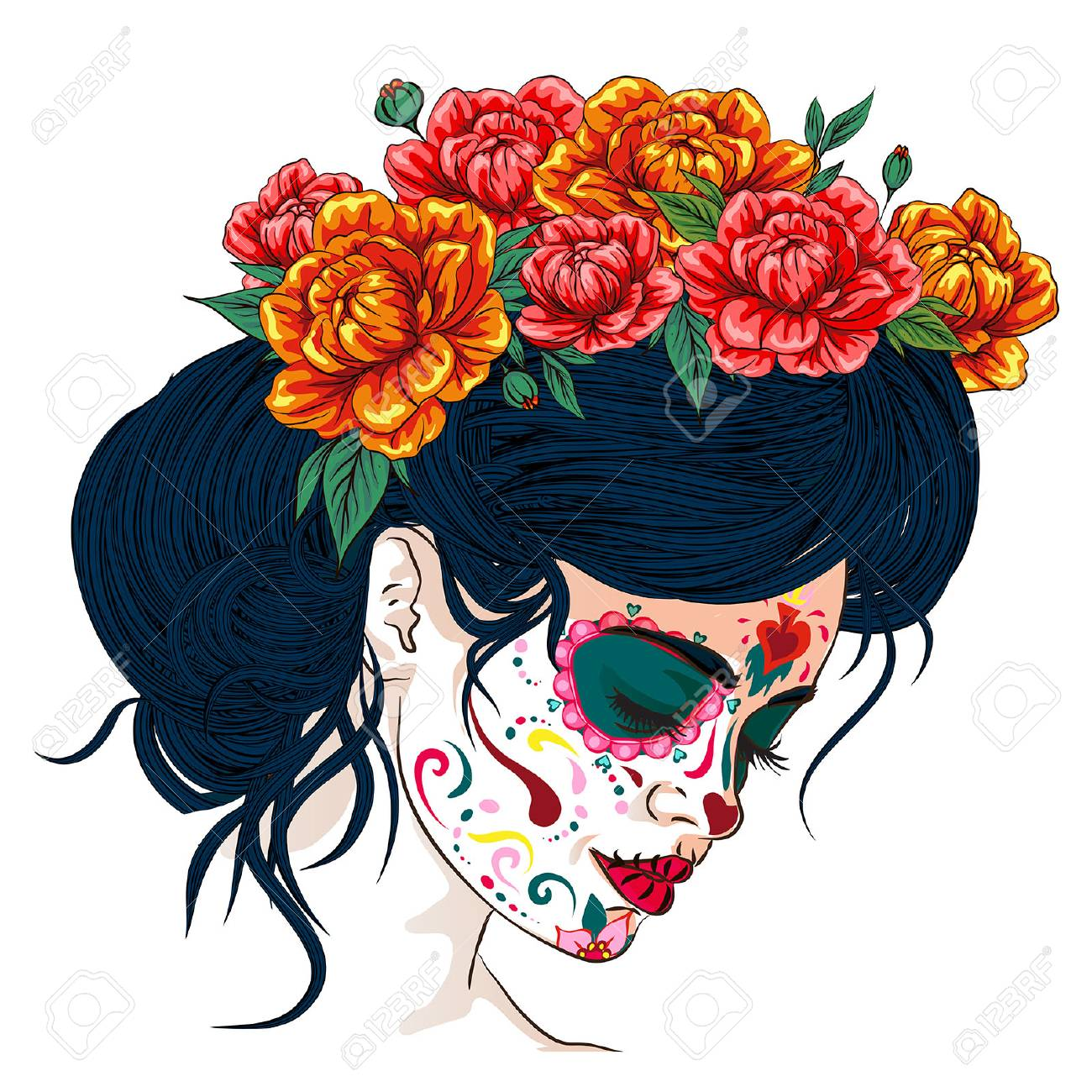 dia de los muertos day of the dead mexican holiday festival vector poster banner and card with, anta muerte woman make up sugar skull girl face with flowers wreath hand drawn - 110121331