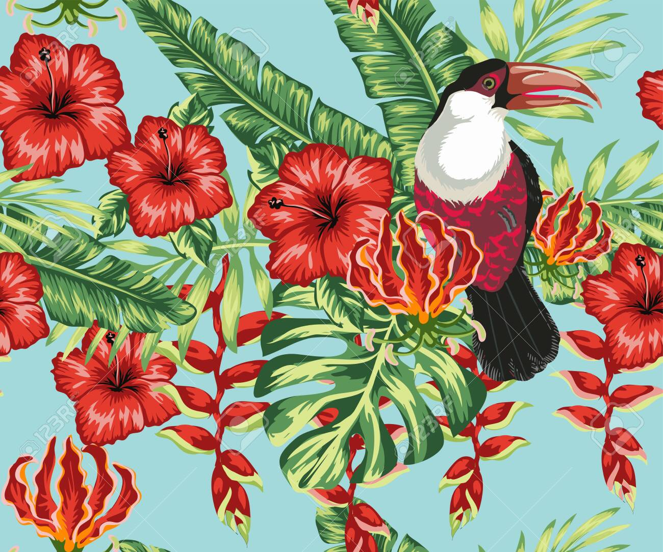 Beautiful seamless vector floral summer pattern background with toucan, palm leaves, hibiscus, plumeria. Ideal for wallpapers, background web pages, surface textures, textiles. - 149898444