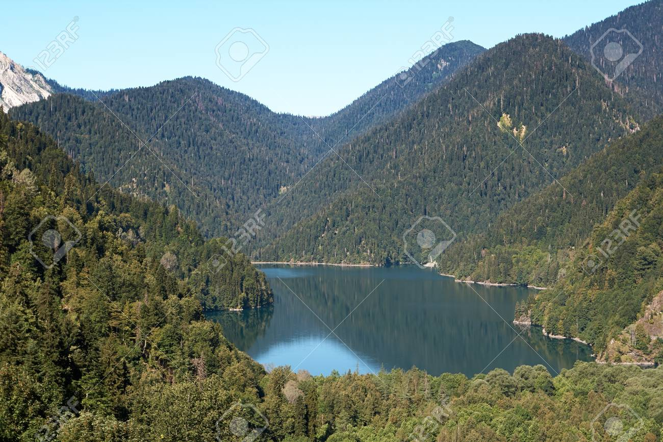 Lake Ritsa located in the northern part of Abkhazia, is a lake in the Caucasus Mountains Stock Photo - 19707798