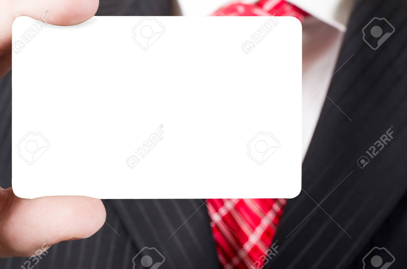 Business Man Holding A Business Card, Closeup Stock Photo, Picture ...