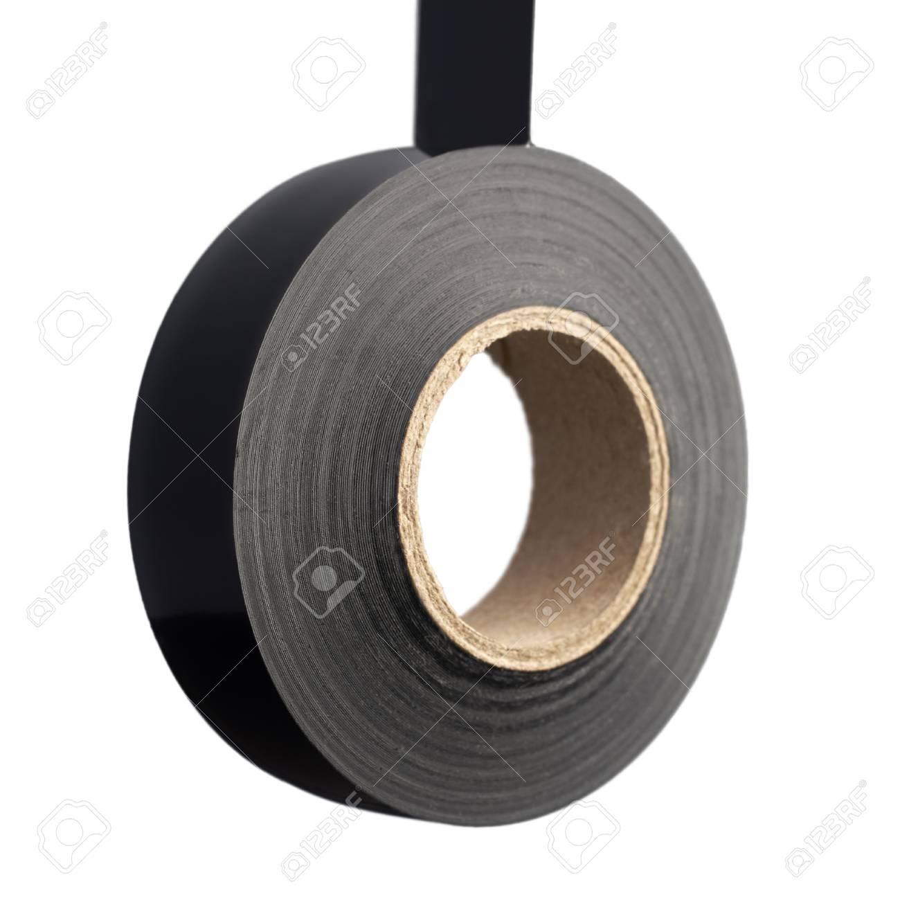Roll Aus Schwarzem Kunststoff Klebeband Auf Weissem Hintergrund