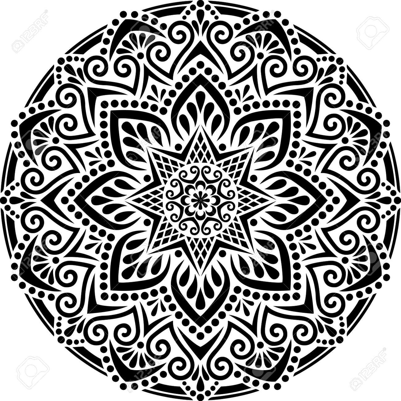 Mandala Pattern Stencil doodles sketch good mood - 154550534