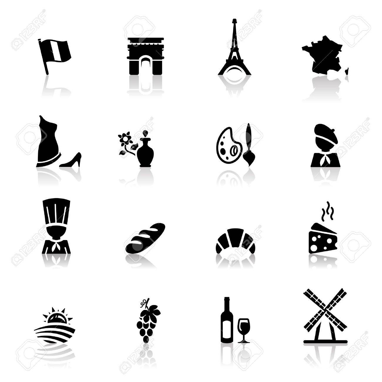 Icons set French Cuisine and culture Stock Vector - 9560122
