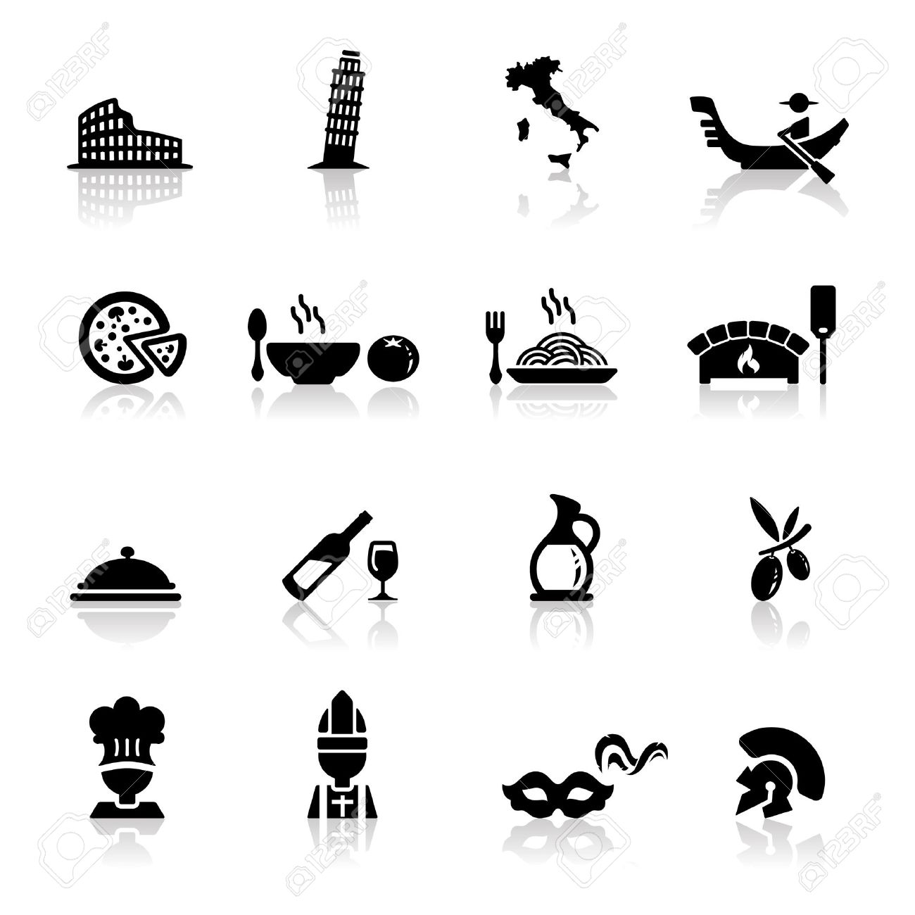 Icons Set Italian Cuisine And Culture Royalty Free Cliparts Vectors