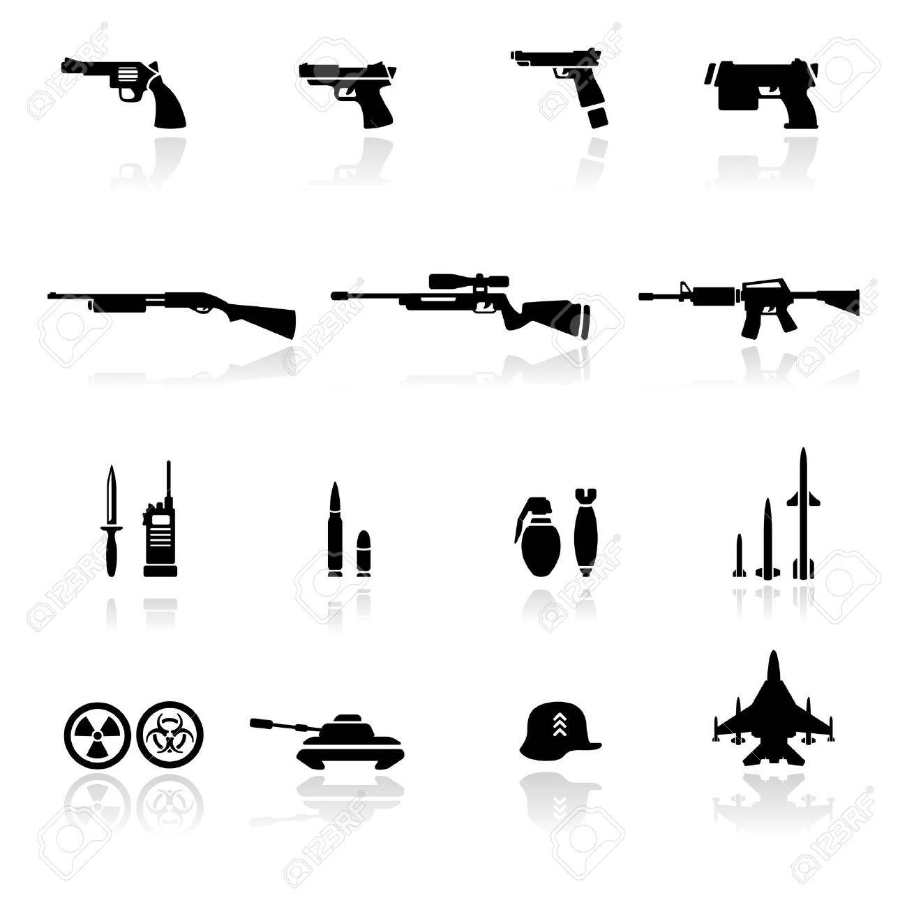 Icon set Weapons Stock Vector - 9811376