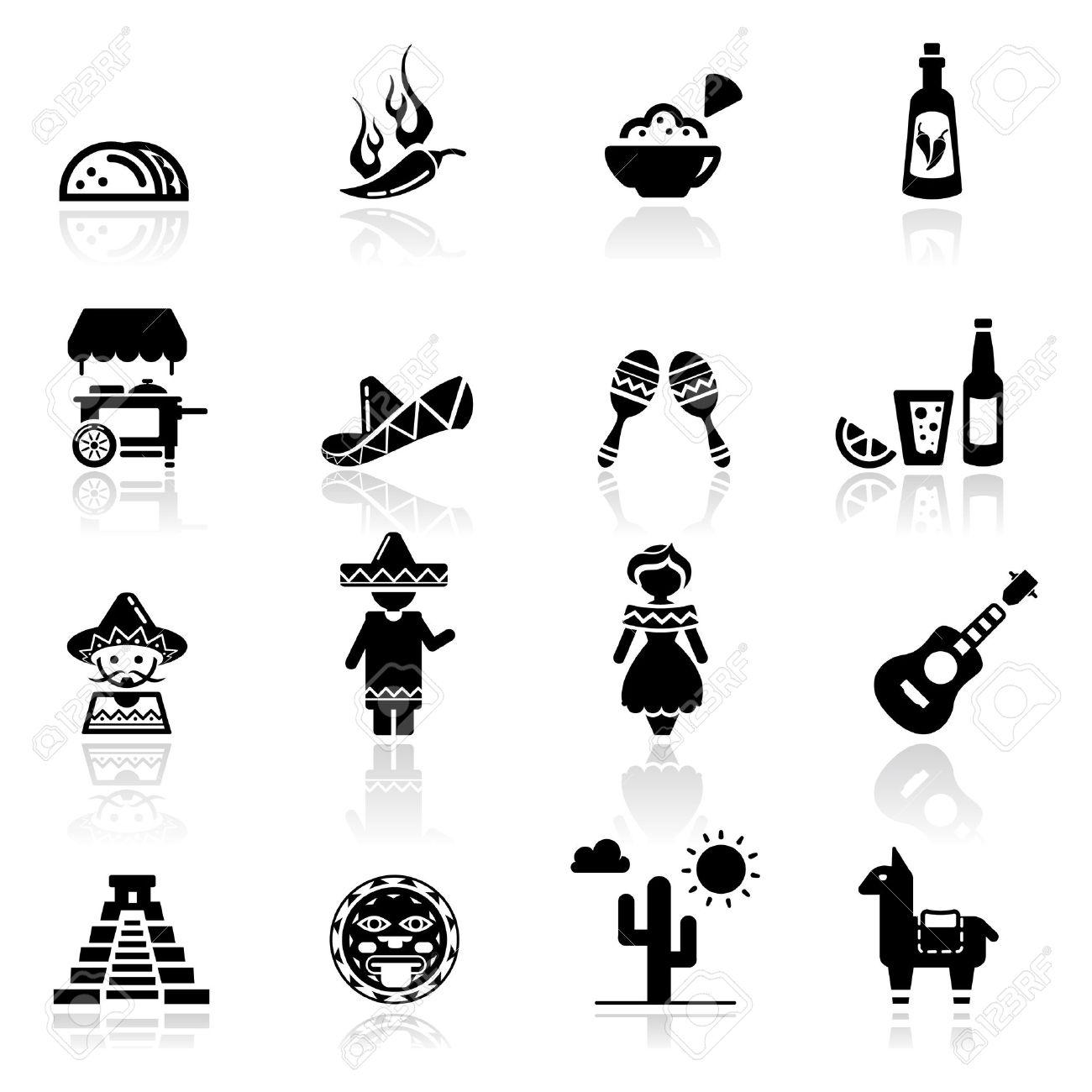 Icons set cultura y cocina mexicana Foto de archivo - 10035574