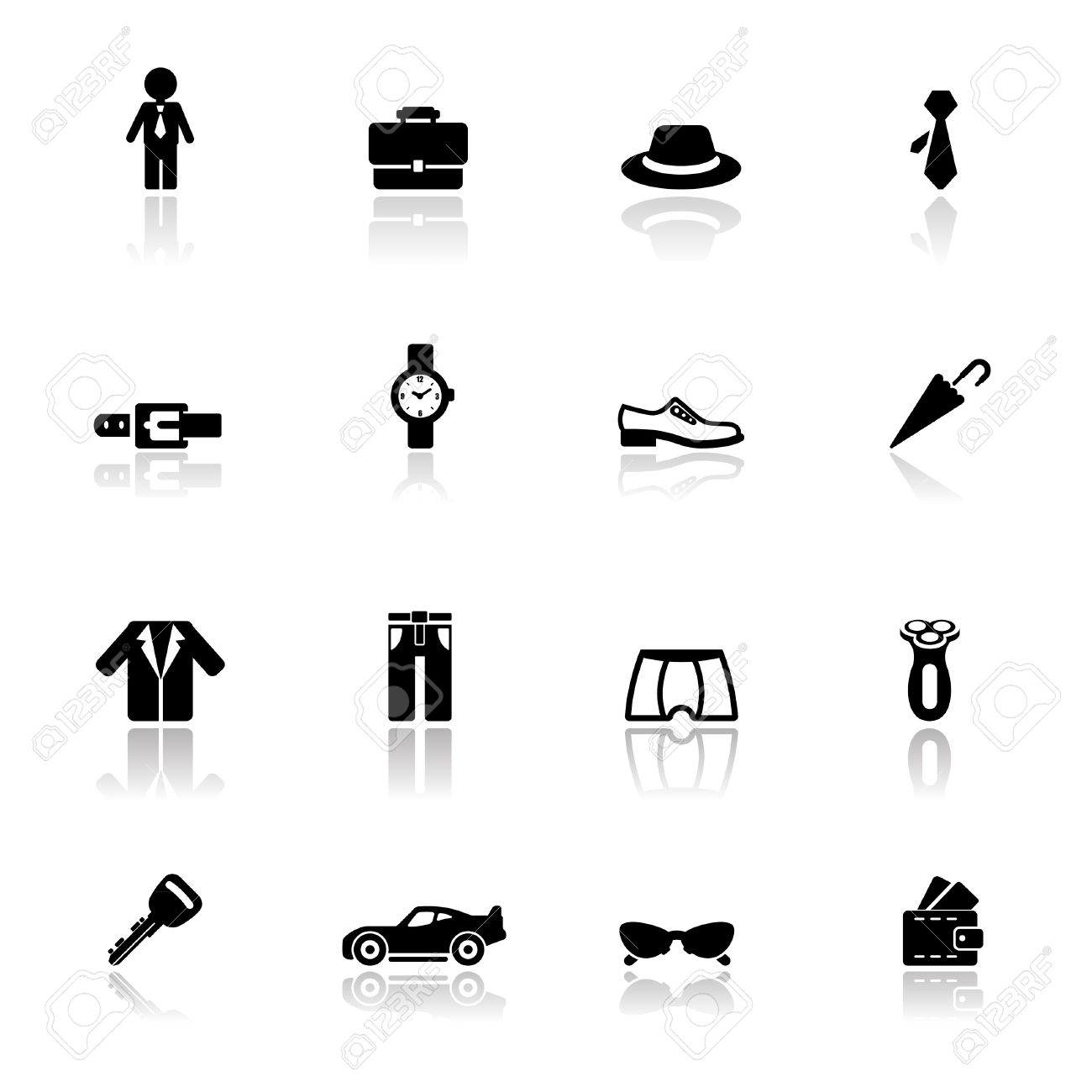 Icons set man accessories Stock Vector - 10035568