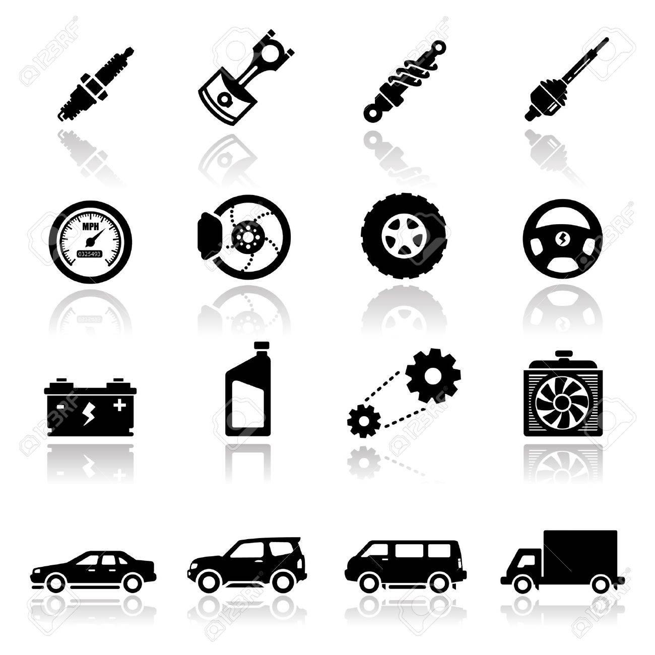 アイコンを設定する自動車部品 ロイヤリティフリークリップアート