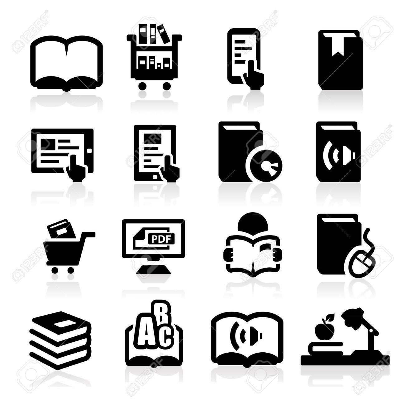 Books icons set Elegant series Stock Vector - 13589177