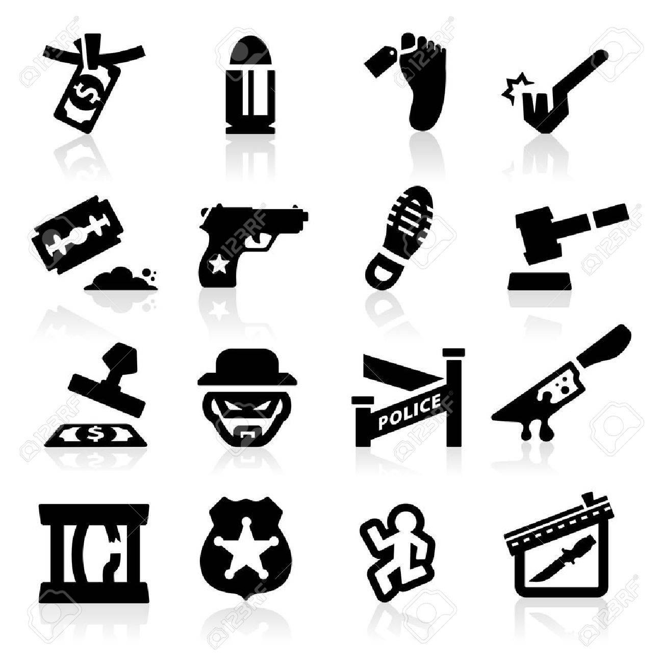 Crime Icons set Elegant series - 14676392