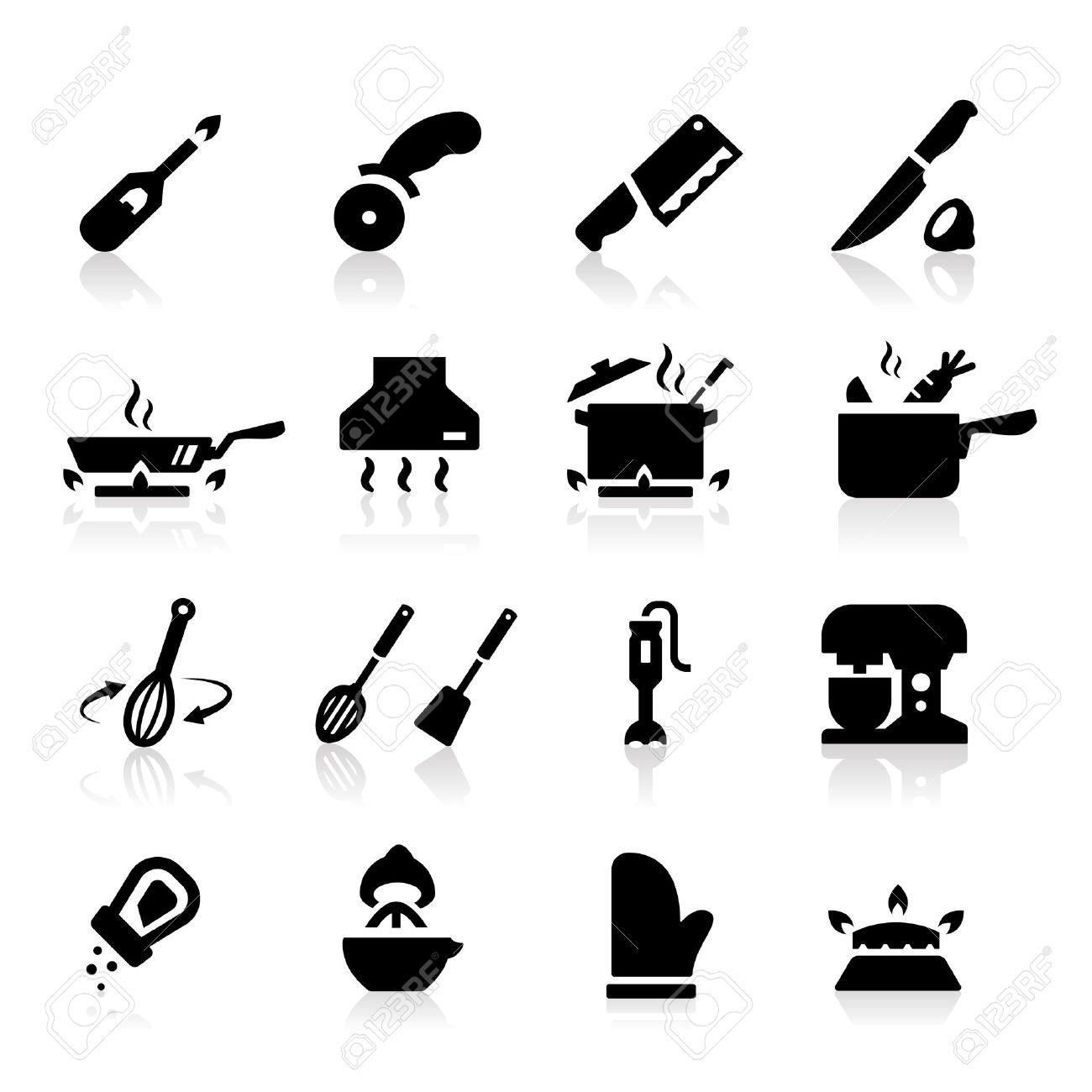 Kitchen utensils icons Stock Vector - 14676396