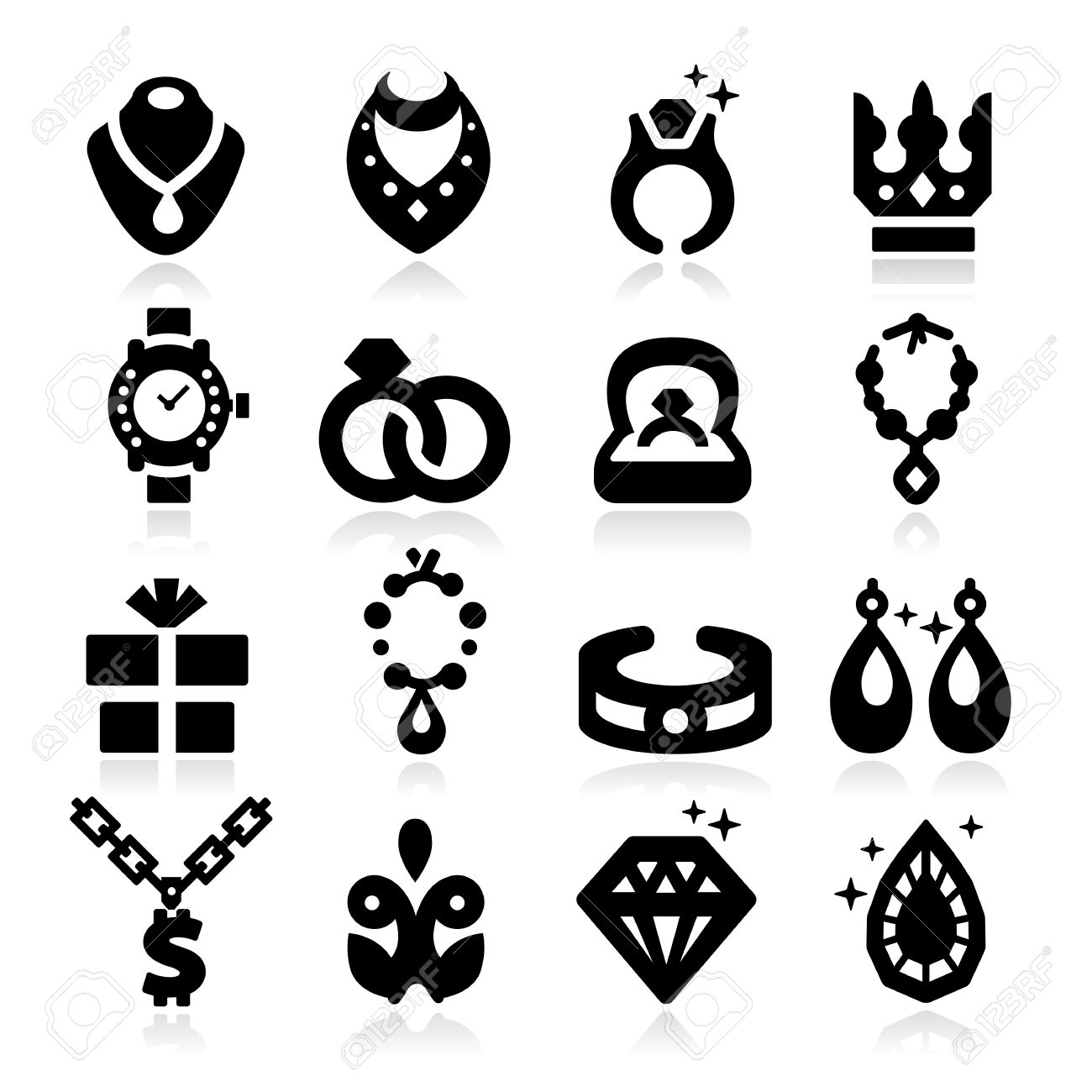 Jewelry Icons Stock Vector - 20494836