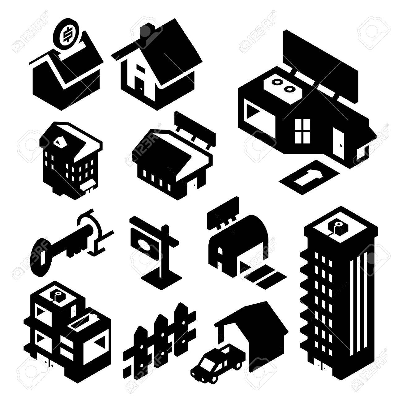 Real Estate Icons Isometric Stock Vector - 23863790
