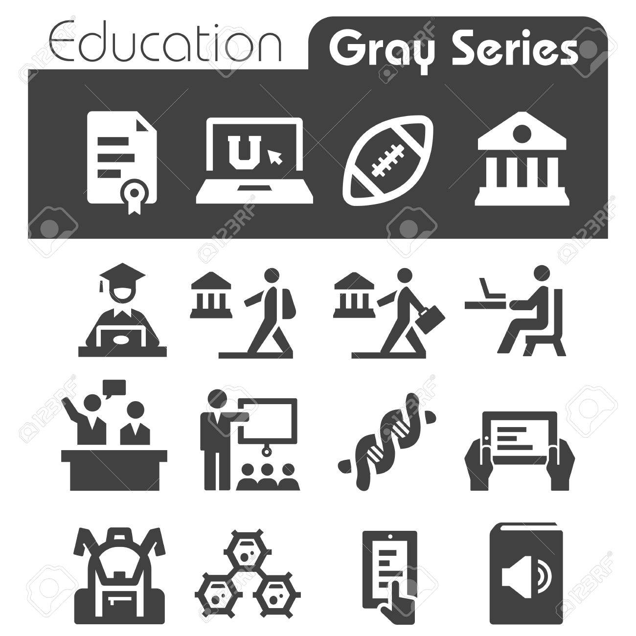 Education Icons Gray Series - 25435242