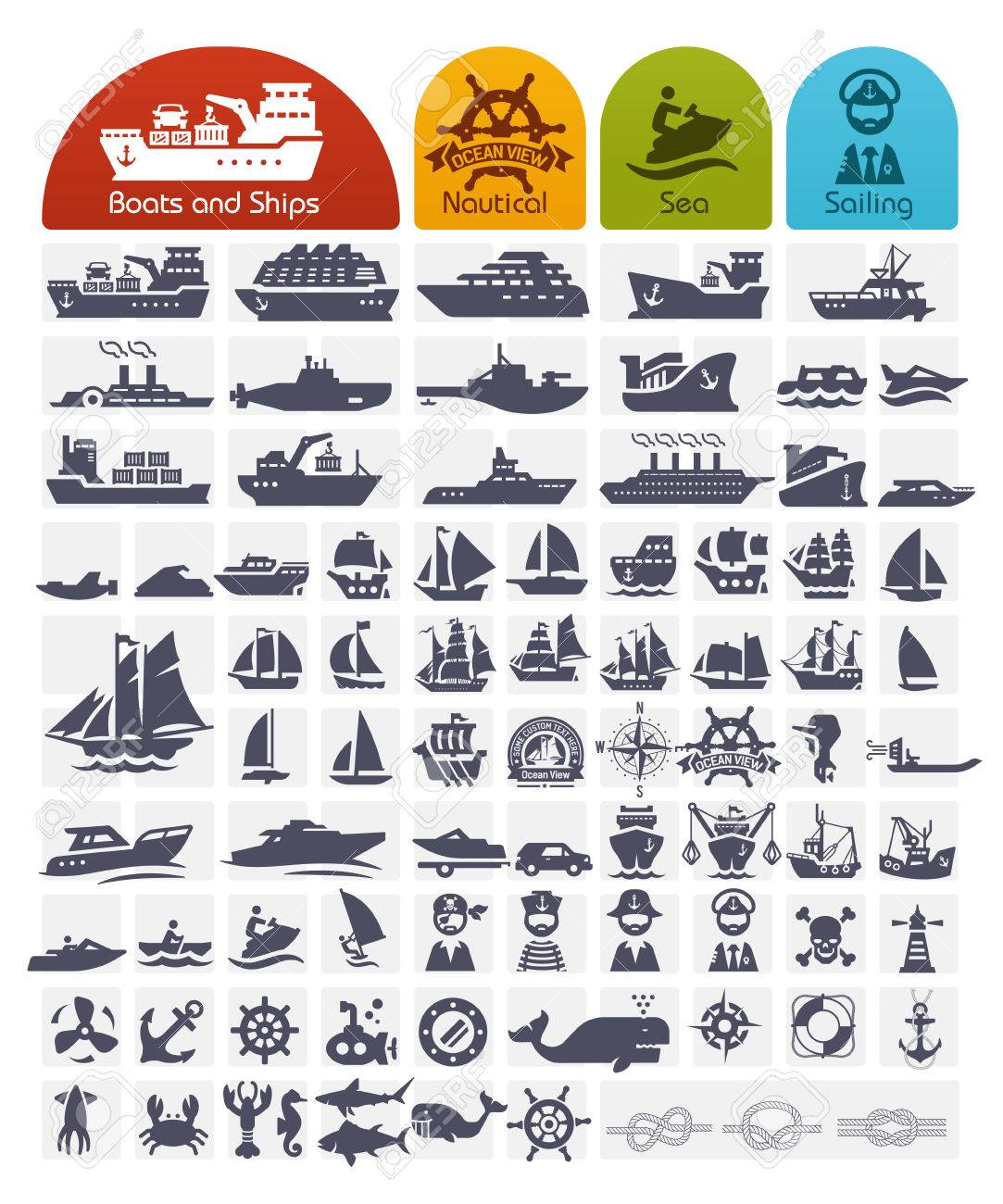 Ships and Boats Icons Bulk series - over 80 high quality icons - 27357717