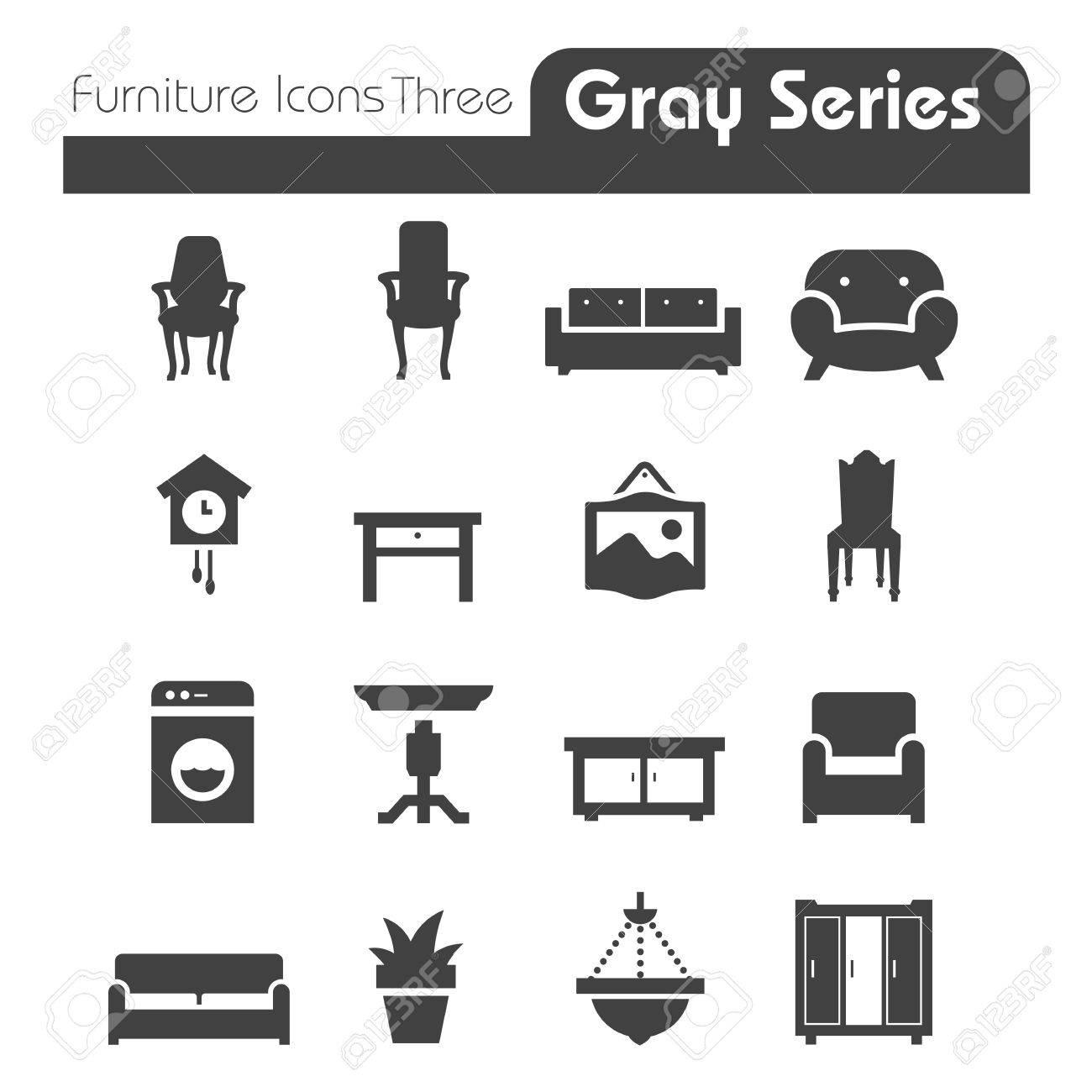 Furniture Icons gray series Three - 27357719
