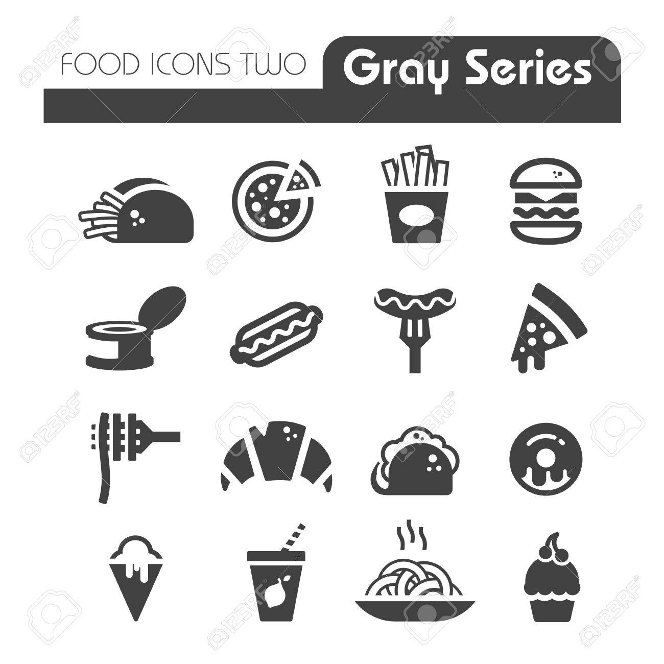 Fast Food Icons gray series - 27357792