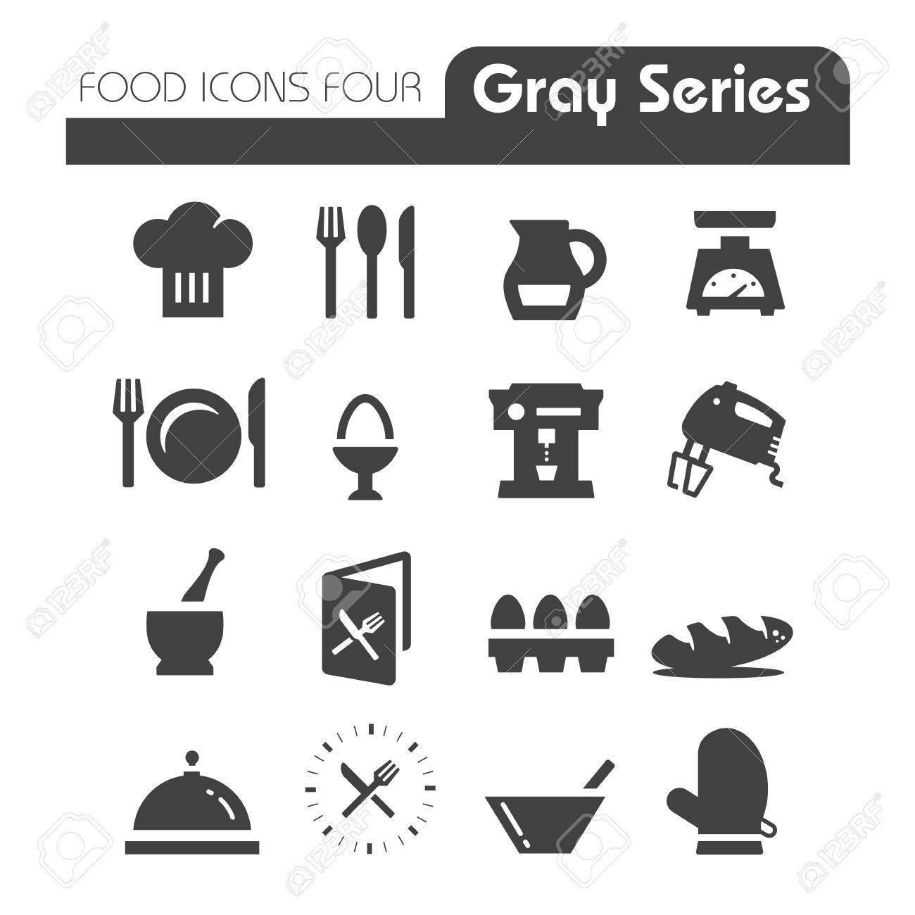 Food Icons Gray Series Four - 27357805