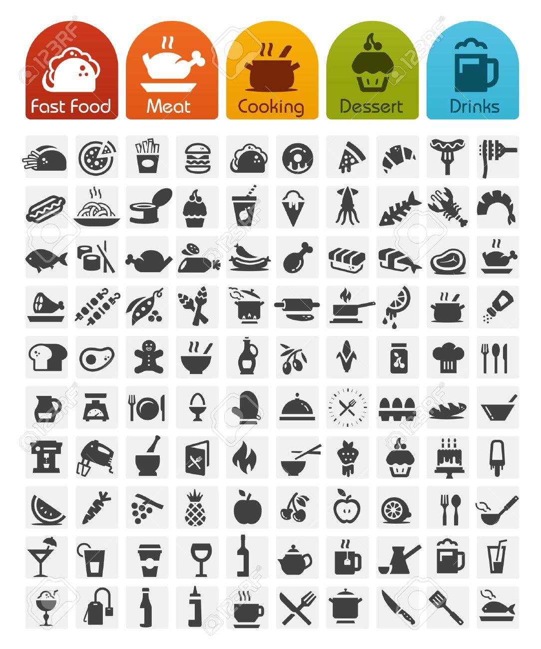 Food Icons bulk series - 100 icons - 27357825