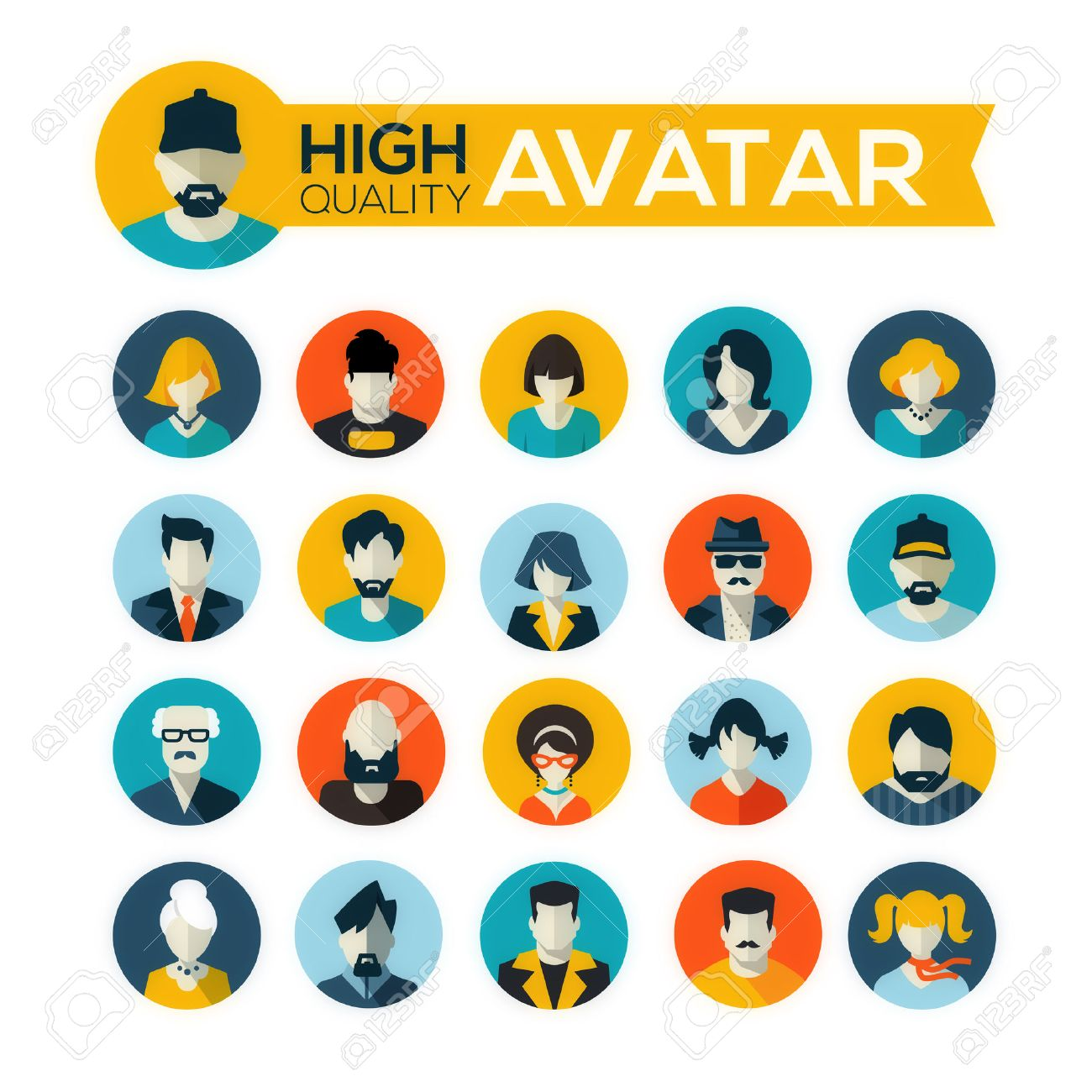 set of 20 flat design avatars icons, for use in mobile applications, website profile picture or in socil networks - 29949347