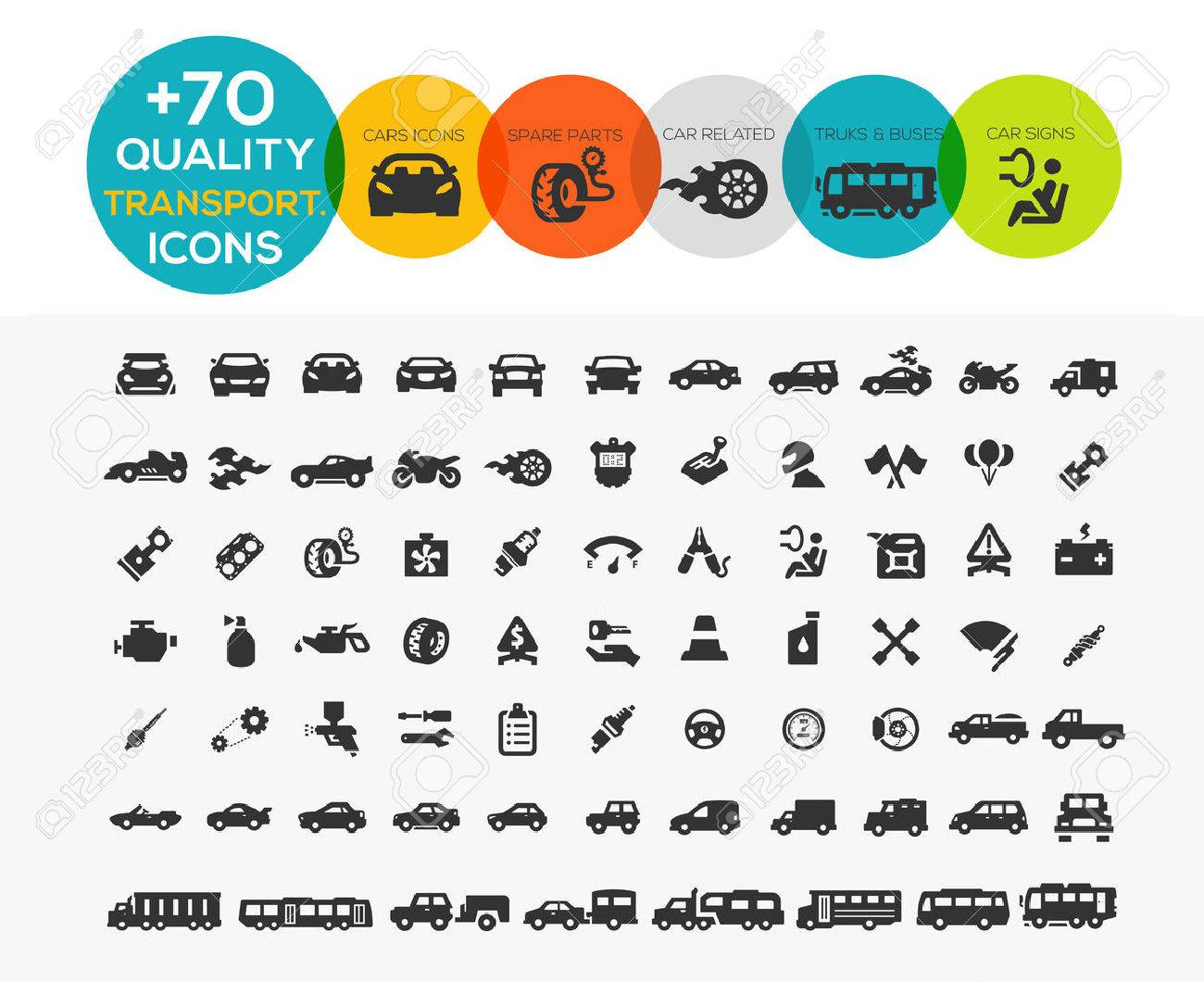 74 Transportation Icons extreme Series Stock Vector - 38737093