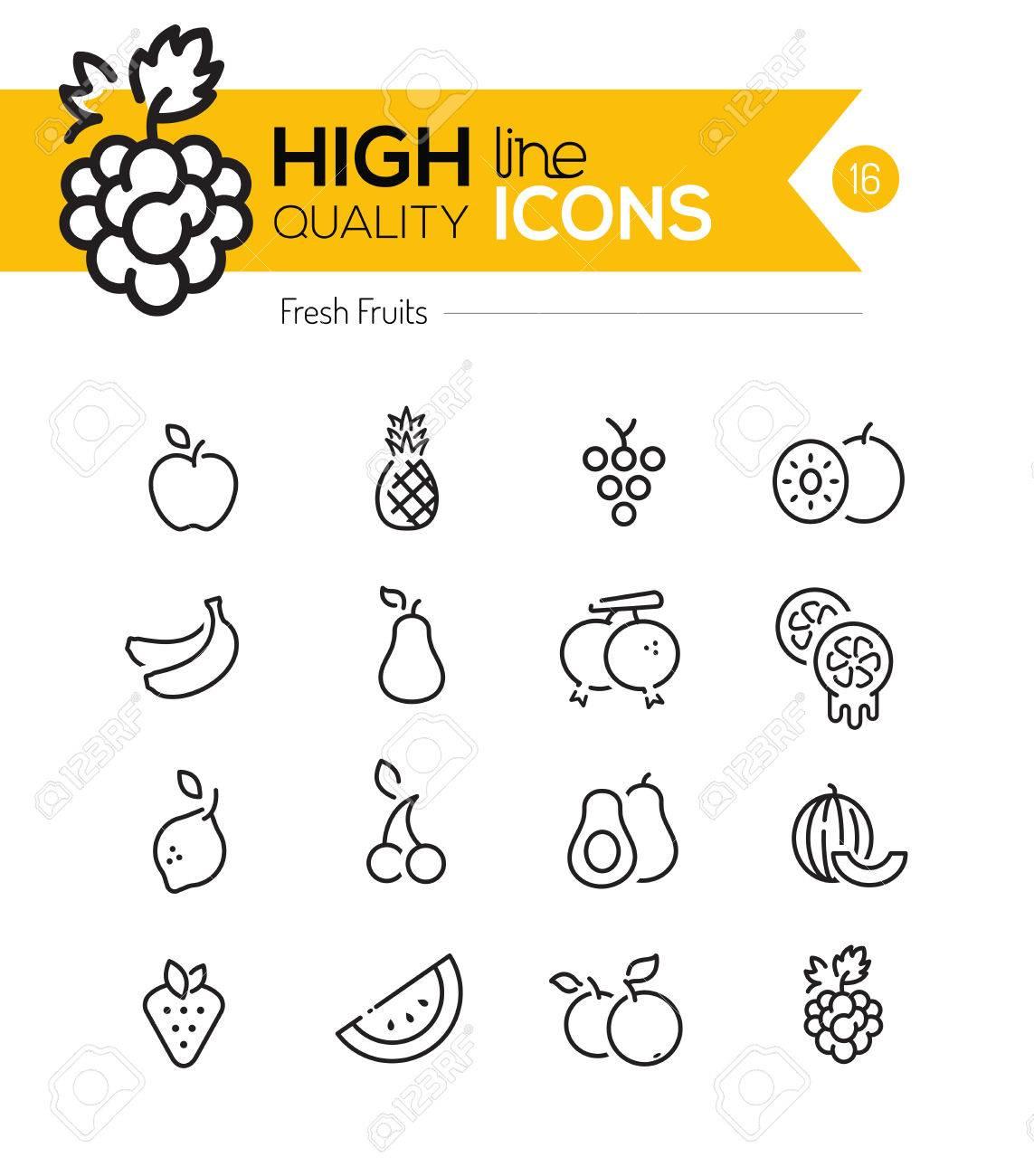 Fruits Line Icons including: Raspberry, banana, pineapple etc.. - 39090691