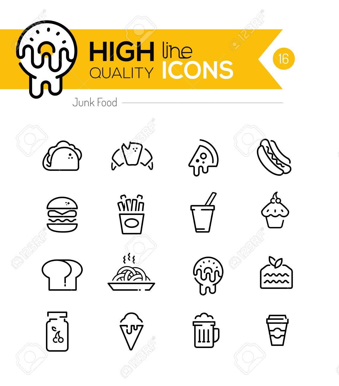 Junk Food Line Icons including: fast food, sugar, alcohol etc.. - 39090518